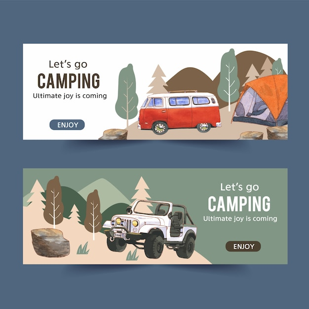 Кемпинг баннер с иллюстрациями фургона, автомобиля и палатки Бесплатные векторы