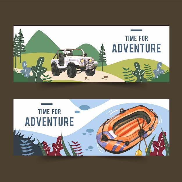 車とボートのイラストとキャンプのバナー 無料ベクター