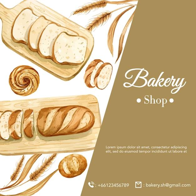 パン屋さんソーシャルメディアテンプレート。パンとパンのコレクション。ホームメイド 無料ベクター