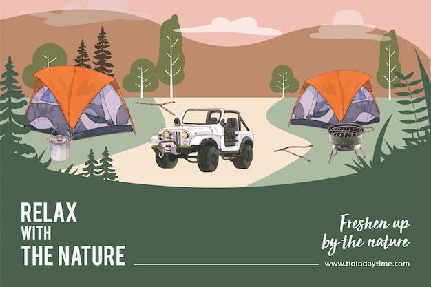 Располагаясь лагерем рамка с иллюстрацией палатки, автомобиля, горшка, горы и плиты. Бесплатные векторы