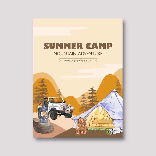 ランタン、バックパック、テント、車のイラストとキャンプポスター 無料ベクター