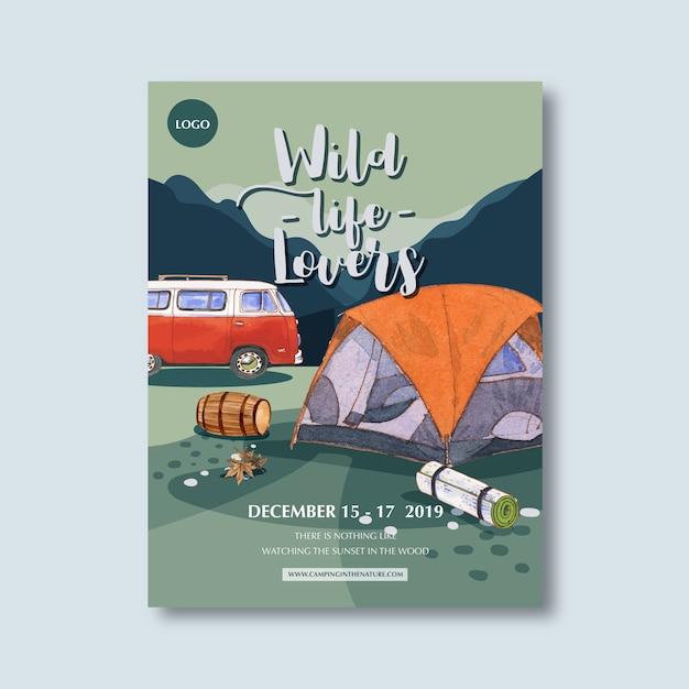 Плакат с изображением палатки, ведра, фургона и горы Бесплатные векторы