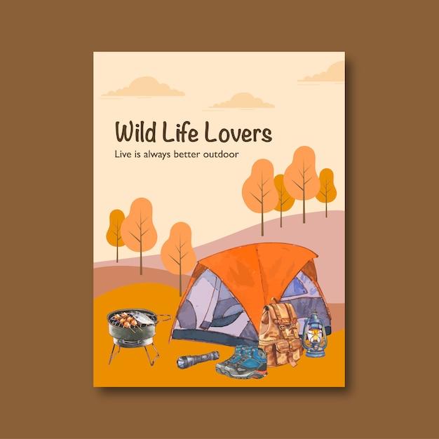 Кемпинг плакат с иллюстрацией фонарь, рюкзак и палатка Бесплатные векторы