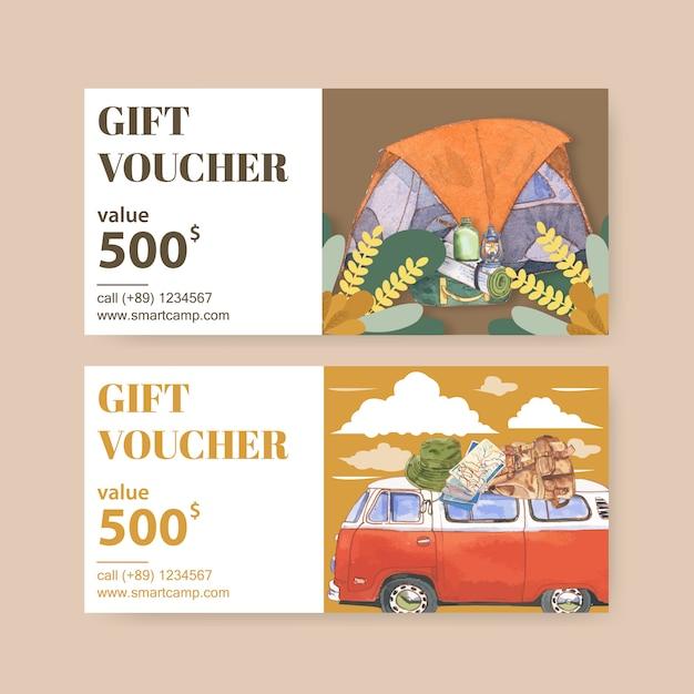 Туристический ваучер с иллюстрациями фонарь, палатка, фургон и рюкзак Бесплатные векторы
