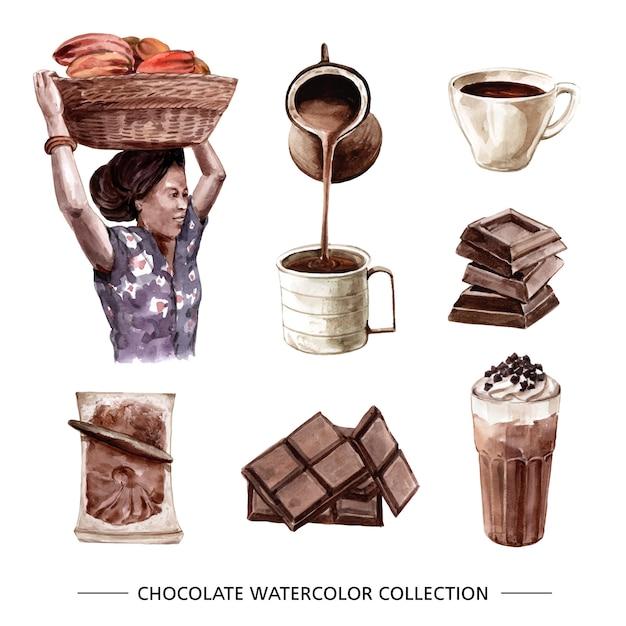 Набор акварельного шоколада Бесплатные векторы