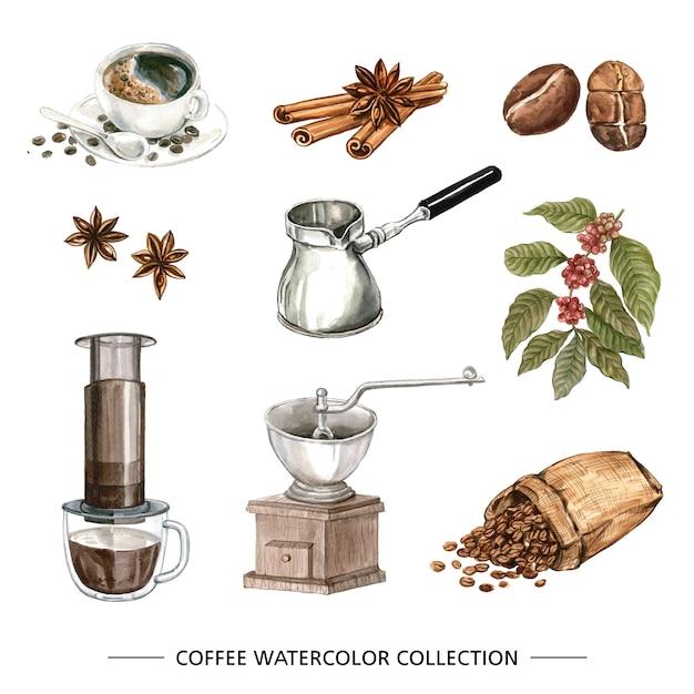 コーヒー水彩コレクション 無料ベクター