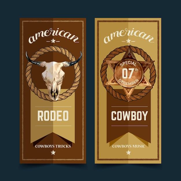 牛の頭蓋骨、バッジ、ロープでカウボーイチラシ 無料ベクター