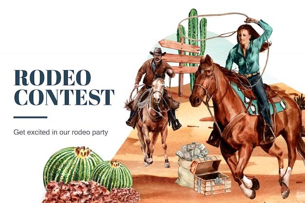 Ковбойская рамка с женщиной, лошадь, кактус, сундук, пустыня Бесплатные векторы