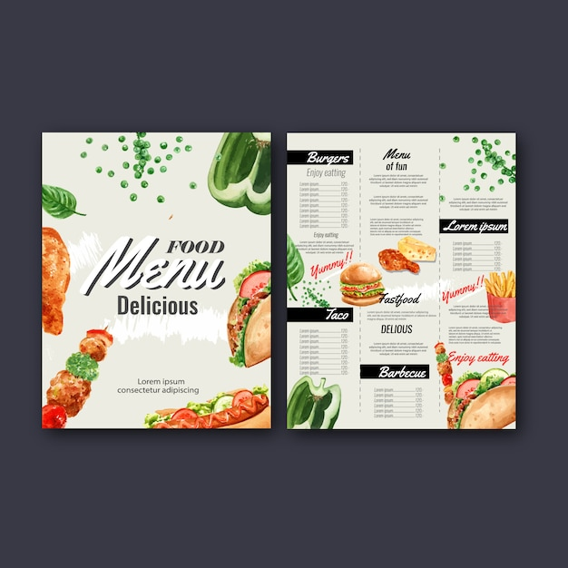 Меню ресторана быстрого питания. рамка рамки меню, список закусок, еда Бесплатные векторы