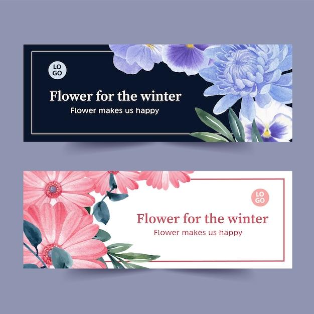 ガーベラ、蘭、菊と冬花バナー 無料ベクター