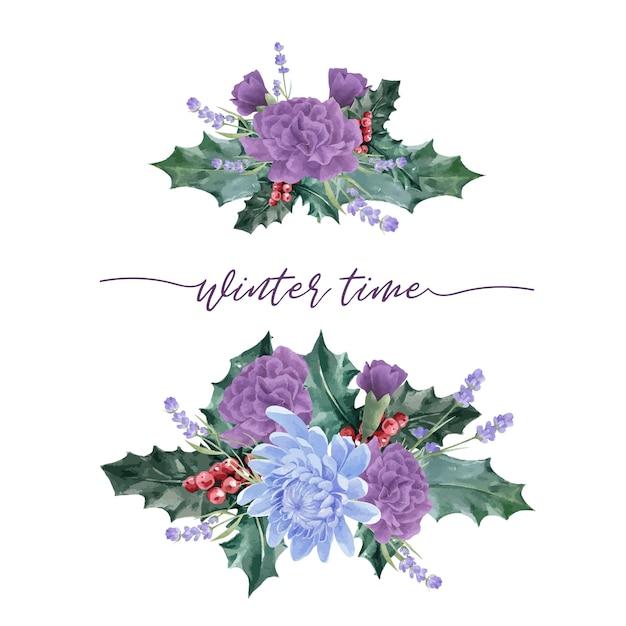 Букет зимних цветов с пионом, хризантемой Бесплатные векторы