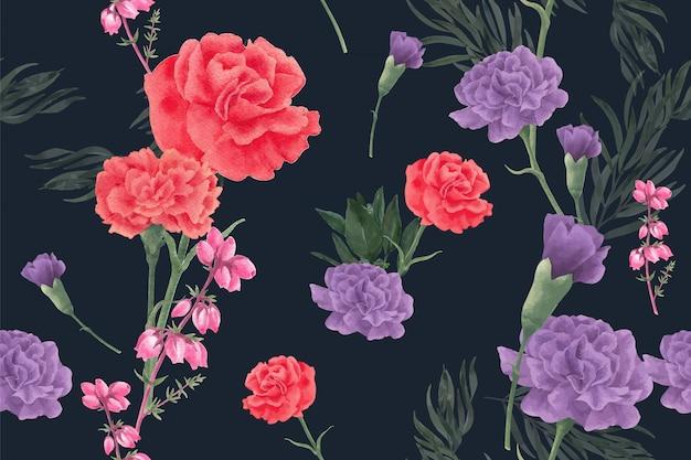 牡丹と冬の花のパターン 無料ベクター