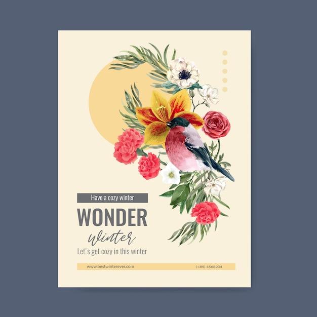 鳥、花と冬の花ポスター 無料ベクター