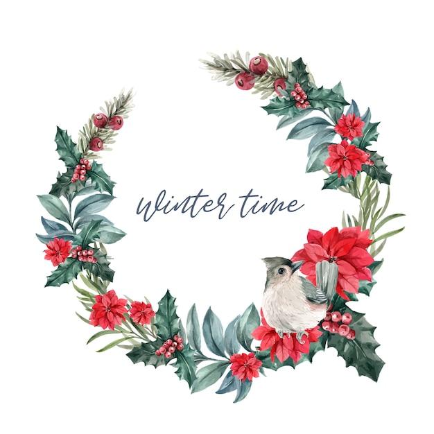 ポインセチア、ヒイラギの果実、鳥と冬の花の花輪 無料ベクター