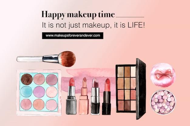 アイシャドウ、口紅、ブラシで化粧品ソーシャルメディア 無料ベクター