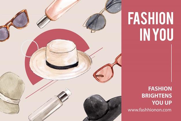 帽子、サングラスとファッションの背景 無料ベクター