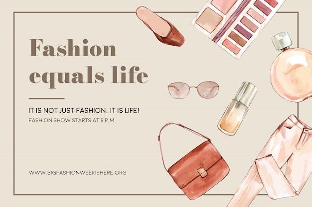 バッグ、パンツ、化粧品とファッションの背景 無料ベクター