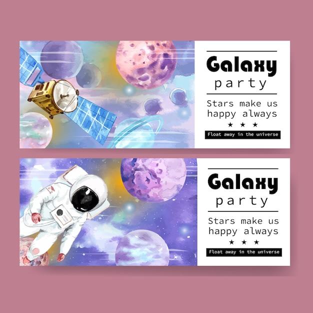 衛星、宇宙飛行士、星の水彩イラストと銀河バナーデザイン。 無料ベクター