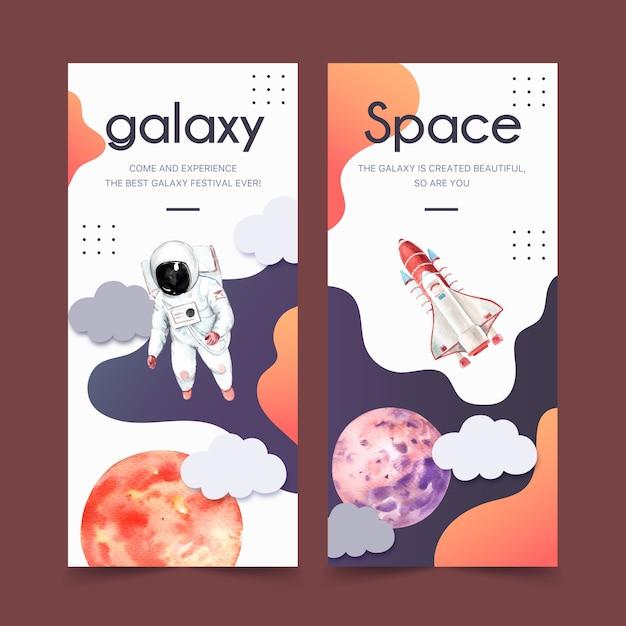 Галактика баннер с планеты, астронавт, ракета акварельные иллюстрации. Бесплатные векторы