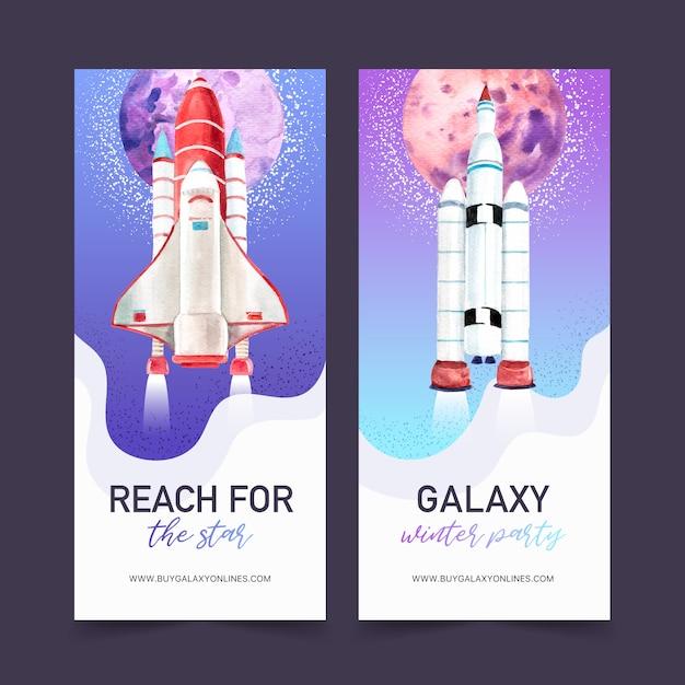 Галактика баннер с ракетой, планета акварельные иллюстрации. Бесплатные векторы