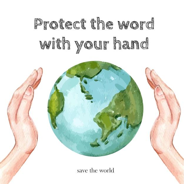 地球温暖化防止ポスター 無料ベクター