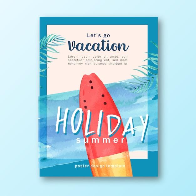 休日の夏ビーチ旅行ヤシの木の休暇、海と空の日差し 無料ベクター