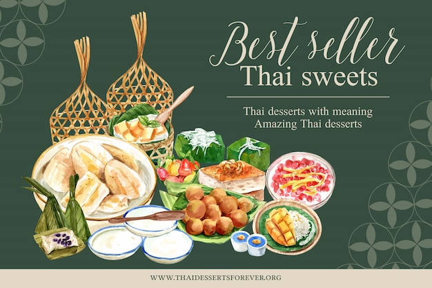 Тайский сладкий баннер шаблон с имитацией фруктов иллюстрации акварель. Бесплатные векторы