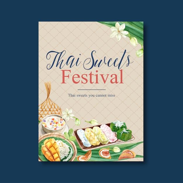 Тайский сладкий дизайн плаката с жасмином, пудинг, липкий рис, акварель иллюстрации. Бесплатные векторы