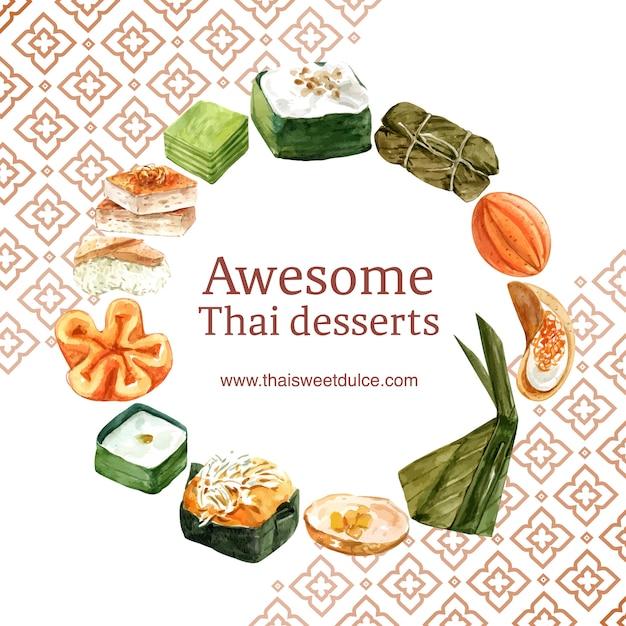 Тайский сладкий венок с тайским заварным кремом, акварель иллюстрации пудинг. Бесплатные векторы
