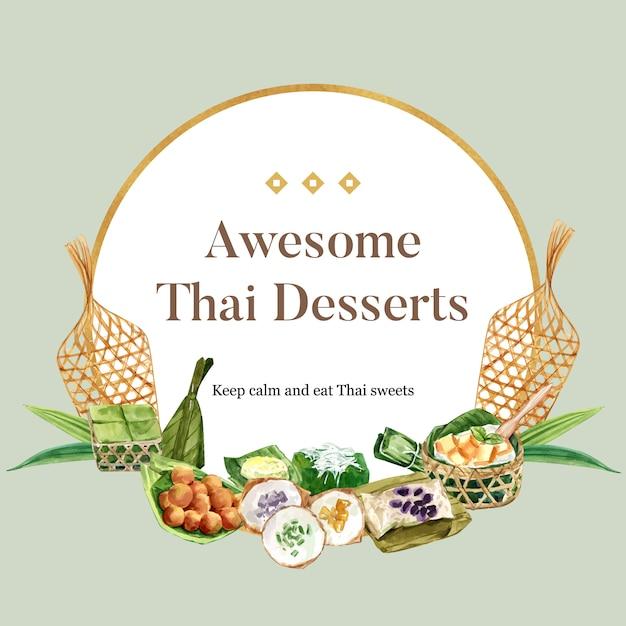 Тайский сладкий венок с пудингом, липкий рис иллюстрации акварель. Бесплатные векторы