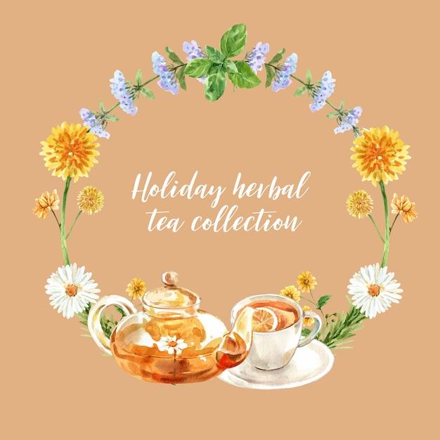メリッサ、菊、ティーポット水彩イラストとハーブティーの花輪。 無料ベクター