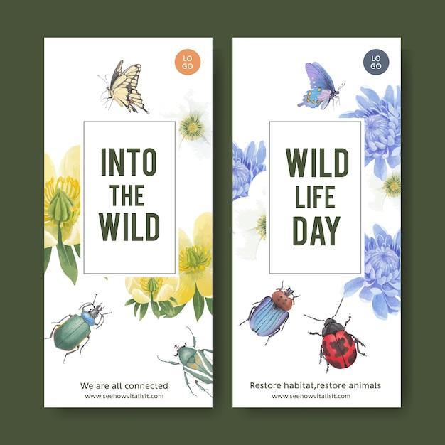 Рогулька насекомых и птиц с бабочкой, жук, цветок акварельные иллюстрации. Бесплатные векторы