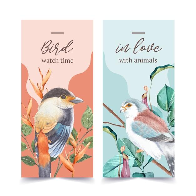 フィンチと昆虫と鳥のチラシ、ウツボカズラの水彩イラスト。 無料ベクター