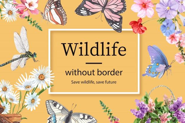 Рамка насекомого и птицы с бабочкой, стрекозой, цветет иллюстрация акварели. Бесплатные векторы