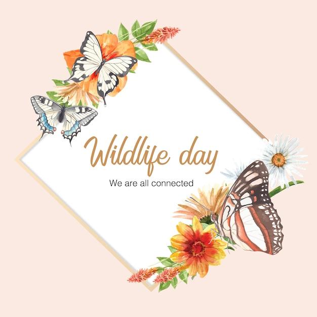 蝶と花の水彩イラストと昆虫と鳥の花輪。 無料ベクター
