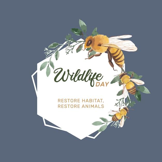 Насекомых и птица венок с пчелой, листья акварельные иллюстрации. Бесплатные векторы