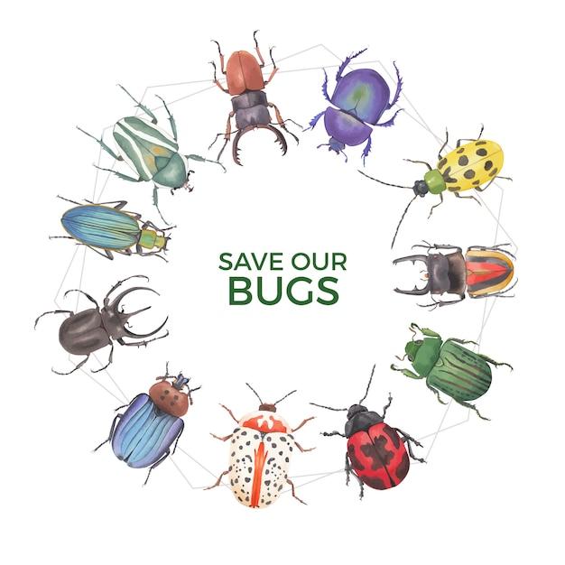 クワガタムシ、てんとう虫水彩イラストと昆虫と鳥の花輪。 無料ベクター