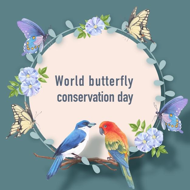 コガネメキシコインコ、蝶、リナム水彩イラストと昆虫と鳥の花輪。 無料ベクター