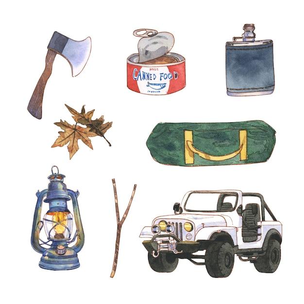 装飾的な使用のための水彩画とキャンプイラストデザイン。 無料ベクター