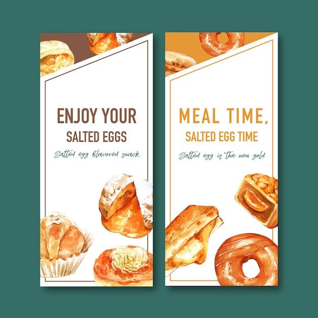 ドーナツ、ぬいぐるみパン水彩イラストと塩卵チラシデザイン。 無料ベクター
