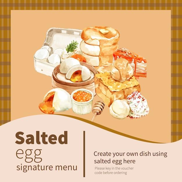 Соленое яйцо баннер дизайн с блин, тост акварельные иллюстрации. Бесплатные векторы
