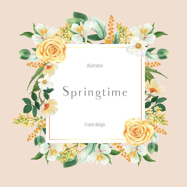 新鮮な花を宣伝する春のフレーム、促進、花の色鮮やかな庭園、結婚式、招待状の装飾カード 無料ベクター