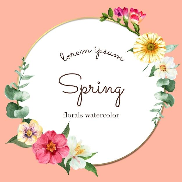 Весенний венок, рамка из живых цветов, декор карты с разноцветным цветочным садом, свадьба, приглашение Бесплатные векторы