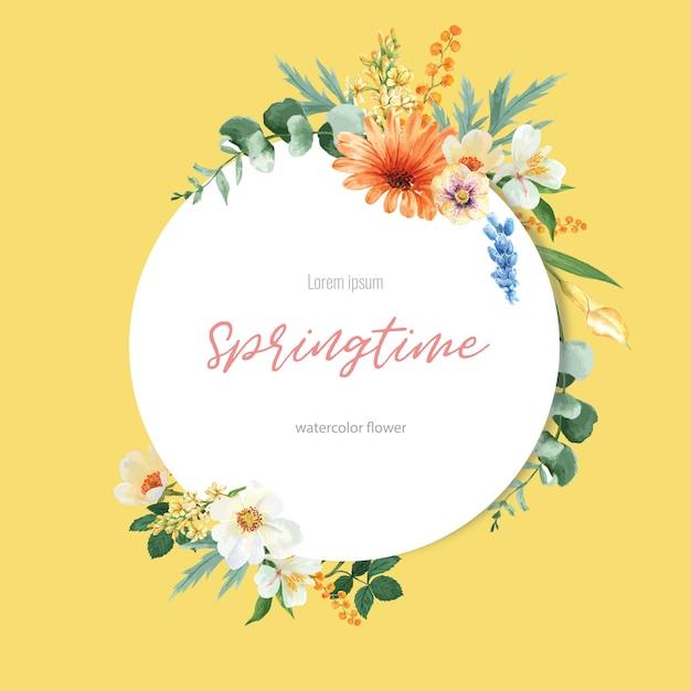 春の花輪フレームの新鮮な花、花の色鮮やかな庭園の装飾カード、結婚式、招待状 無料ベクター