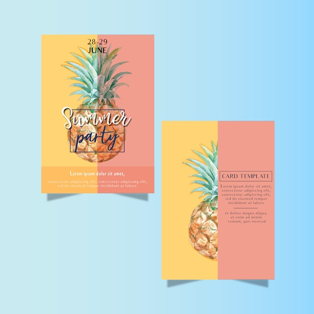 Летнее приглашение на праздничную вечеринку на пляже море солнышко Бесплатные векторы