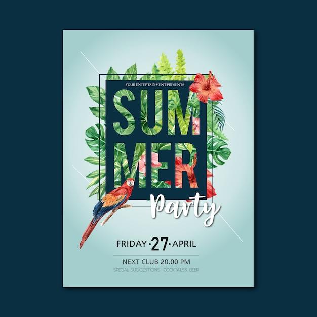 Летний плакат праздник партии на пляже море солнце природа. Бесплатные векторы