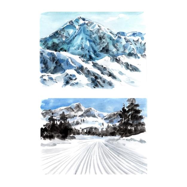 Комплект дизайна зимнего вида спорта с акварелью, рукой нарисованная иллюстрация. Бесплатные векторы