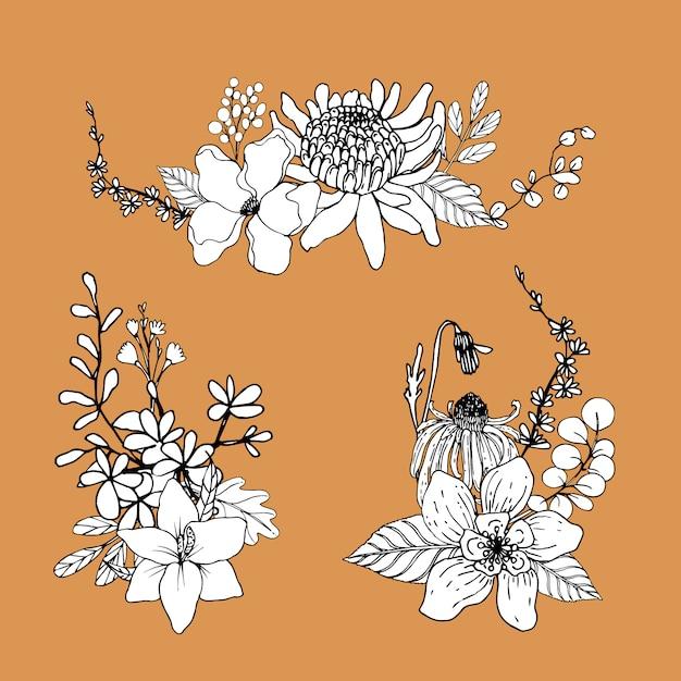 Букет цветов линии искусства тропик. декоративные цветущие растения. Бесплатные векторы