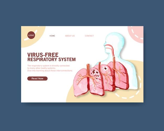 Дизайн дыхательной системы для шаблона сайта с анатомией человека Бесплатные векторы