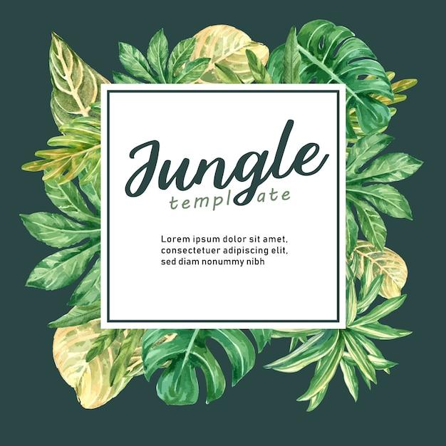 Рамка тропическая бордюрная лето с листвой растений экзотическая, креативная акварель Бесплатные векторы